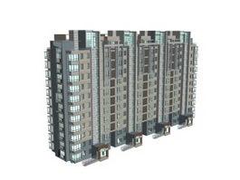 Apartment complex 3d model preview