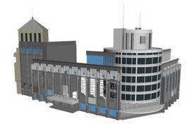 Business office building 3d model preview