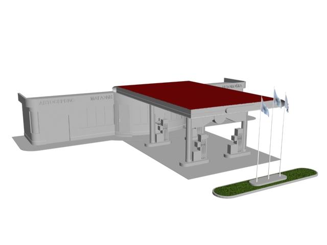 Gasoline service station 3d rendering