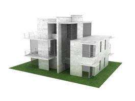 Villa residence 3d model preview