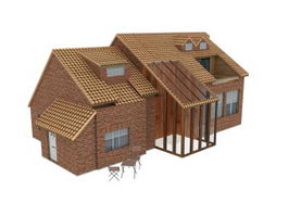 Country cottage 3d model preview