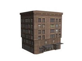 Old hotel building 3d model preview