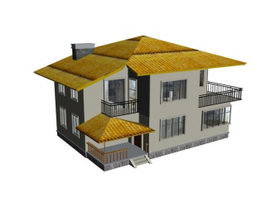 Deluxe villa 3d model preview