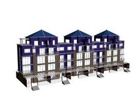 Townhouses building 3d model preview
