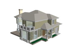 Grand house 3d model preview
