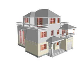 Luxury residential building 3d model preview