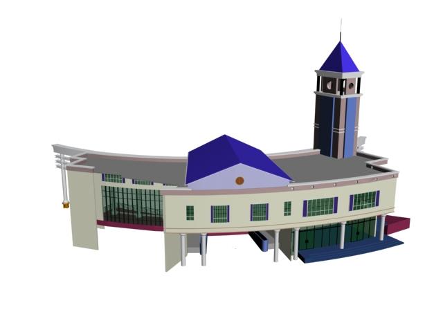 Railway station building 3d rendering