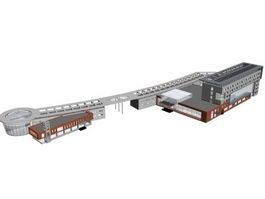 Urban commercial center 3d model preview