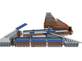 Commercial building complex 3d preview