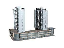 Commercial and residential buildings 3d model preview