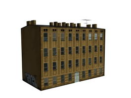 Old residential buildings 3d model preview