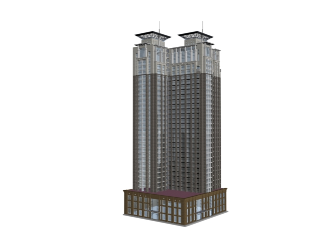 Multistory office building 3d rendering