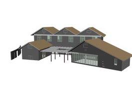 Motel building 3d model preview