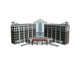 Luxury hotel architectural 3d preview