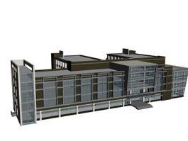 Complex office buildings 3d model preview