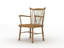 Wooden armchair 3d model preview