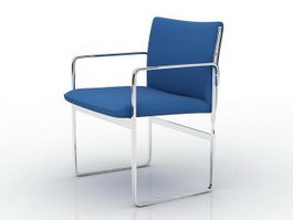 Metal tube office chair 3d model preview