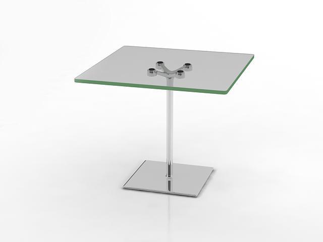 Glass corner table 3d rendering