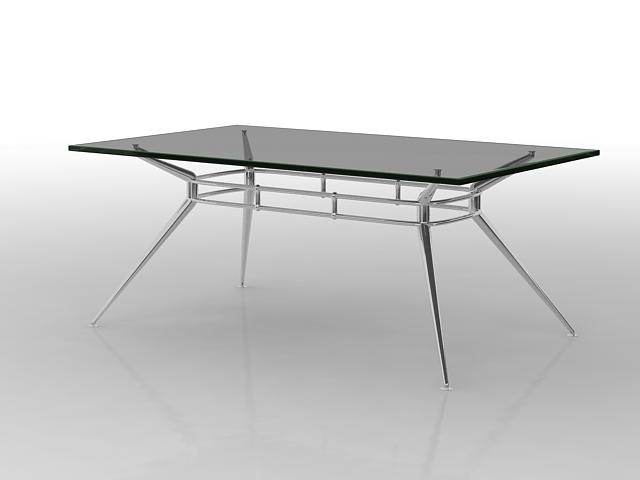 Modern glass dining table 3d rendering