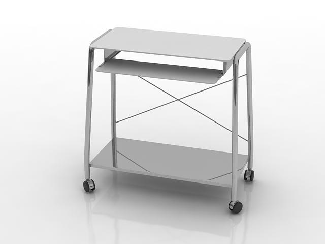 Steel frame office computer table 3d rendering