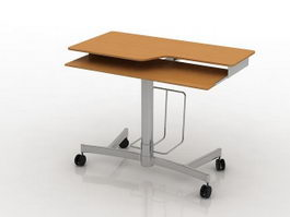 Wooden workbench table 3d model preview