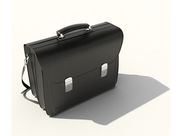 Leather briefcase 3d rendering