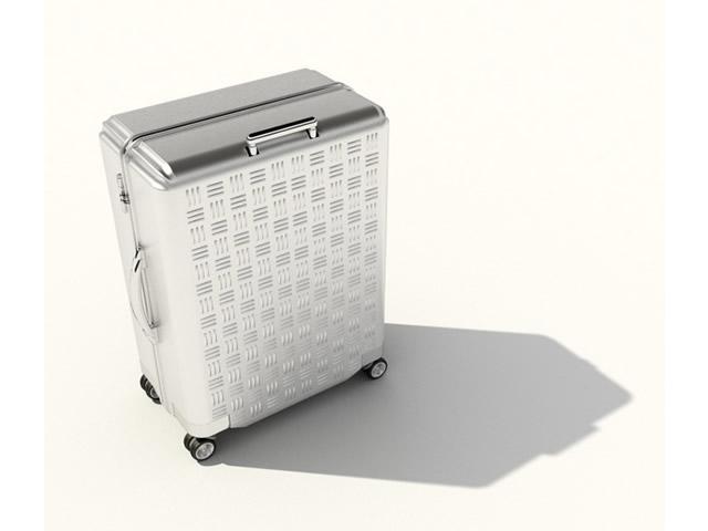 Aluminum luggage case 3d rendering