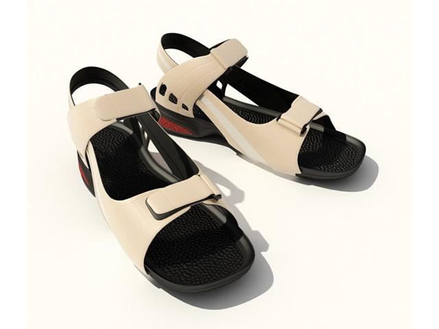 Men's leather sandals 3d rendering