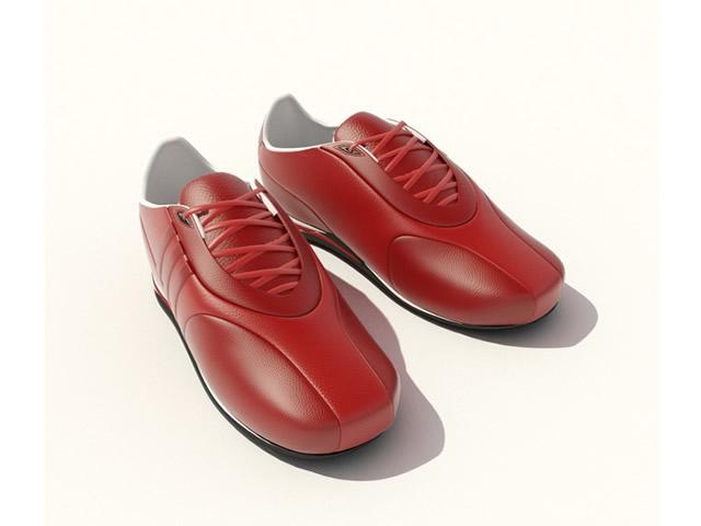 Leather Dress Men Shoes 3d rendering