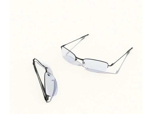 Half frame eyeglasses 3d rendering