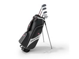 Golf bag and golf clubs 3d preview