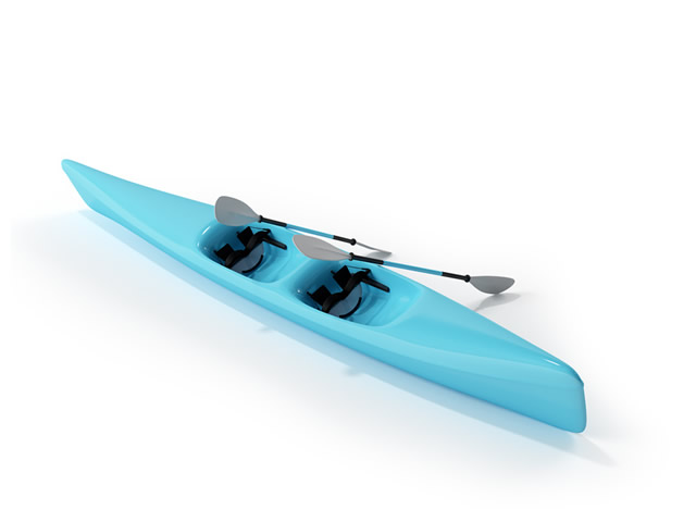 Inflatable canoe 3d rendering