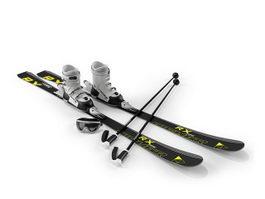 Snow ski, ski poles and goggles 3d model preview