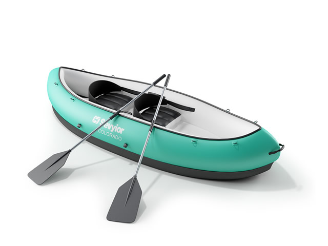 Canoeing and kayaking 3d rendering