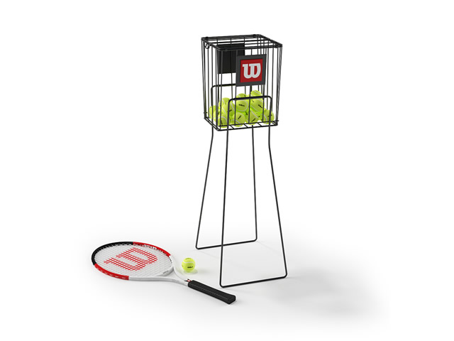 Tennis ball and racket 3d rendering