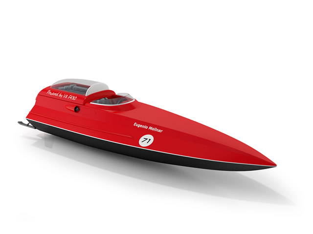 Surfing speed boat 3d rendering