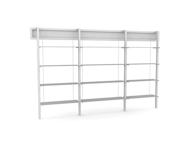 Wooden Storage Shelf 3d rendering