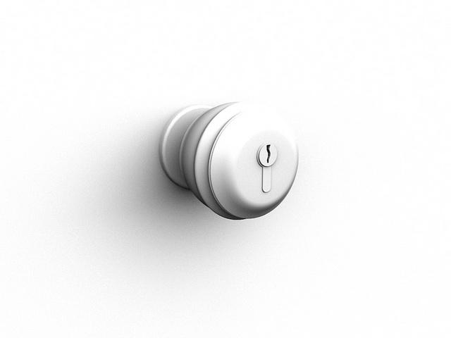 Door handle ball lock 3d rendering
