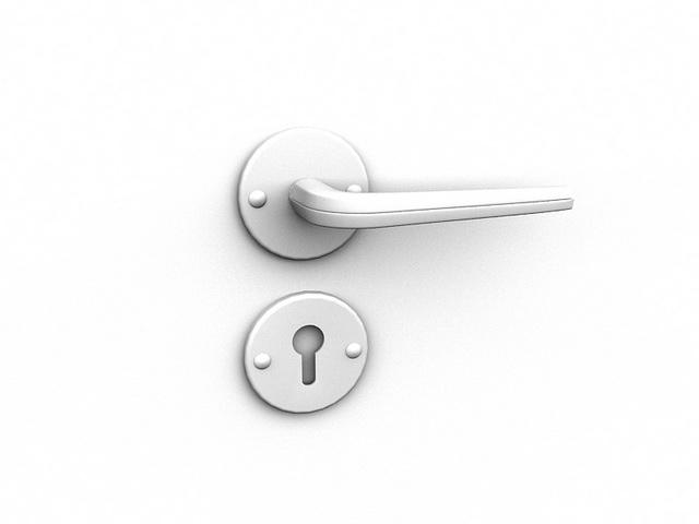 Stainless steel door handle 3d rendering