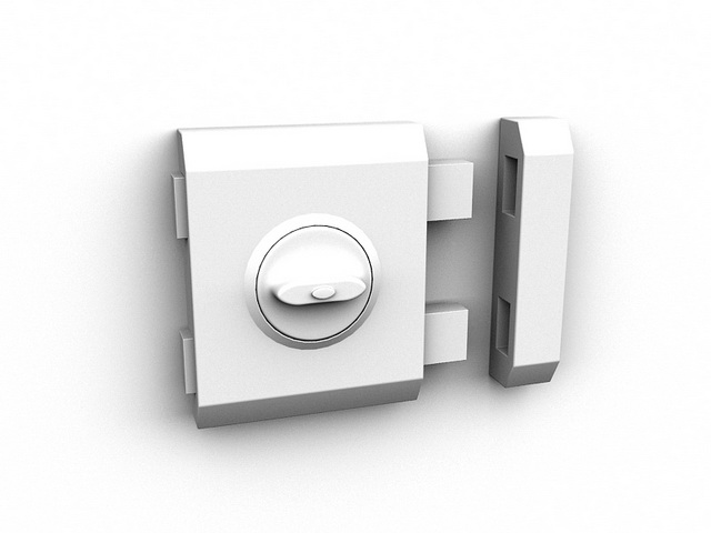 Safety door latch lock 3d rendering