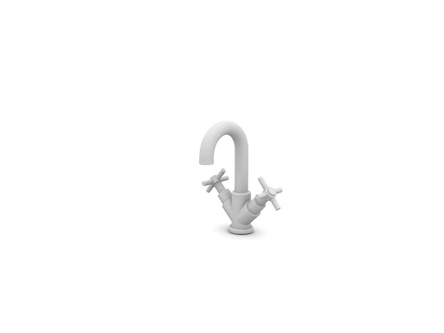 Double handles faucet 3d rendering