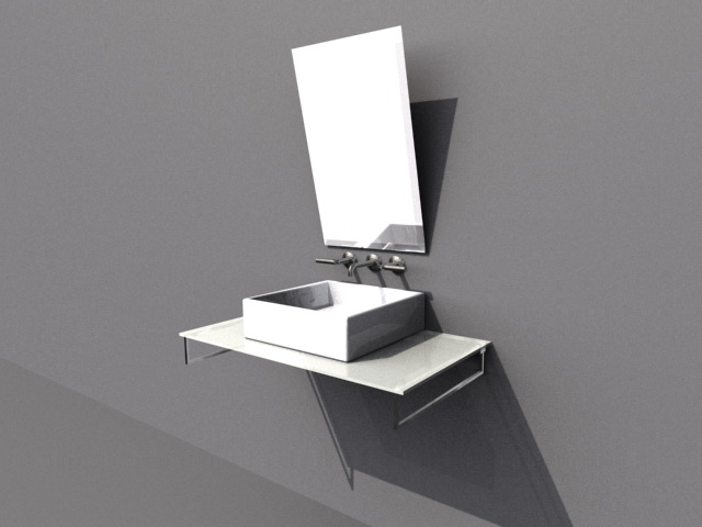 Above counter basin with mirror 3d rendering