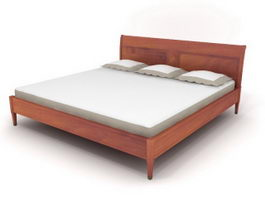 Solid wood double bed 3d model preview