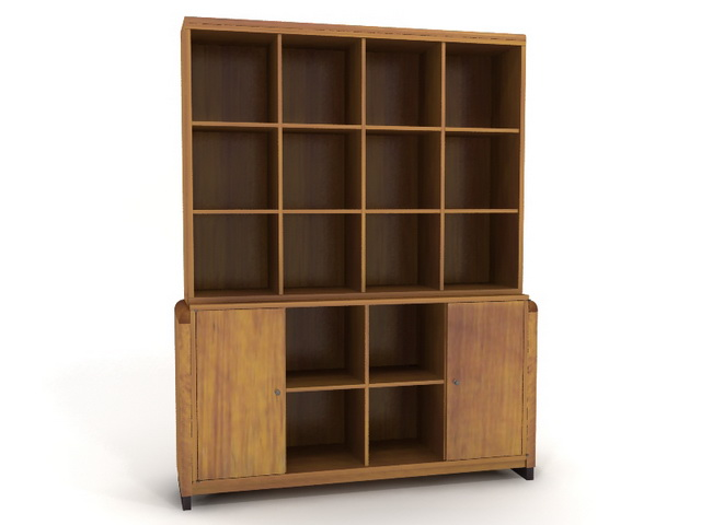 Standing wooden bookcase 3d rendering