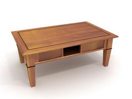 Carved wooden coffee table 3d preview