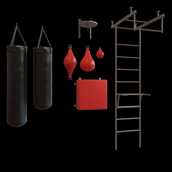 Jungle gym and boxing punch bag 3d rendering