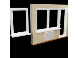 Door with side window 3d model preview