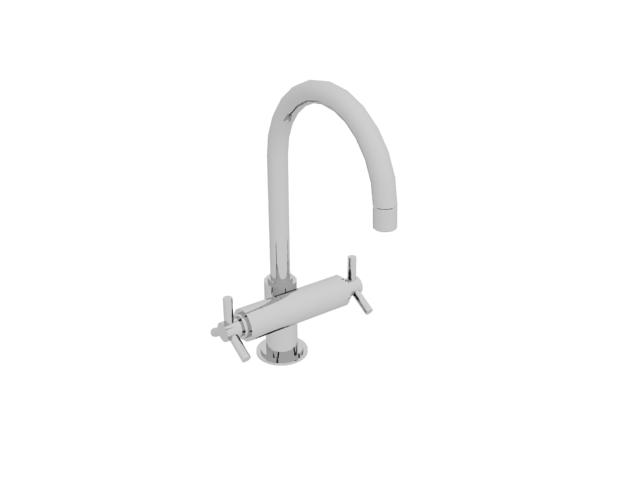 Double handle basin faucet 3d rendering