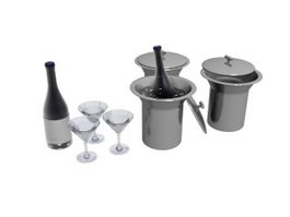 Ice bucket wine and glasses 3d model preview