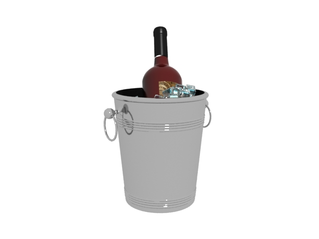 Ice bucket and red wine 3d rendering